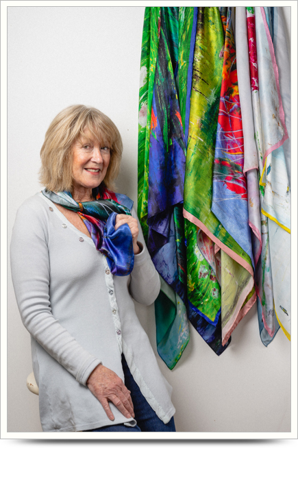 Maureen Gillespie creator of 100% Silk Scarves from art works