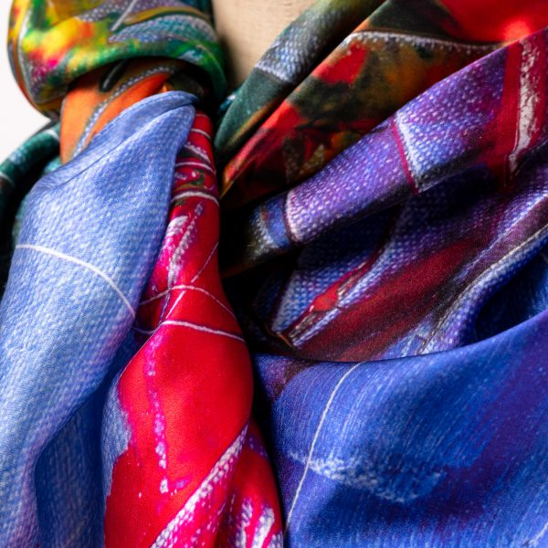 Silk Scarf - Linda, a close up image